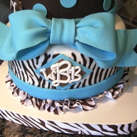 Horse Lover Zebra Stripe Turquoise And Brown And White 40 Year Old Birthday Cake With Monegram Turquoise and Brown Zebra striped(hand Painted) 40 Year old Bitrhday Cake with horse accents Had curlz font style 40 on top didn't...