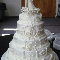 Traditional White Wedding Cake   All white buttercream,5 Tiers,