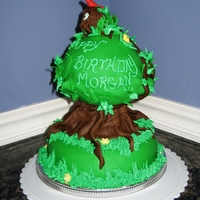 Tree Birthday Cake Tree cake for son in laws Burthday,with bird's nest on top cardinals leaves Fondant,buttercream.Green,Brown,red