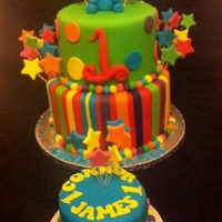 Elephant 1St Birthday Cake I Loved making this cake because of all the colours! I wish all my cakes were so colourful!