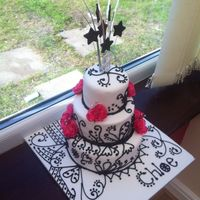 Black & White Henna Pattern Cake