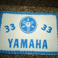 Motocross #33 Small cake for my son's 11th birthday. He rides a Yamaha motorcycle and his racing number is #33. It was a quick cake and not without...