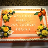 Georgia Peach & Texas Rose  Cake made for a going away party. Leaving Georgia and moving to Texas - Georgia peaches and the yellow roses of Texas. Thanks for looking...