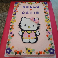 Hello Kitty For Catie  A five year old birthday cake. I was disappointed that my black fondant kitty backdrop was a little out of line but the birthday girl was...