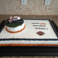 Harley Davidson 40Th Birthday Co-worker requested this cake for her brothers birthday. Once she brought the motorcycle to me, it was really small so I had to re-work my...