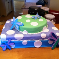 Dragonfly Polka Dot This cake matched the clients baby room exactly.