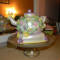 "Grammy's Teapot  For my Husbands Grandmother. A vanilla cake with mocha buttercream. This was one of those cakes where I had ""kind of"" an idea of..."