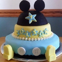 Baby Mickey Cake Colson's first birthday! 3 layer marble cake with vanilla buttercream. Mickey hat was used for babies smash cake.
