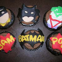 Batman Cupcakes chocolate cupcakes chocolate buttercream at the birthday boys request