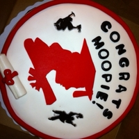 "Lafayette University Graduation Cake Red Velvet 10"" cake with Cream Cheese icing. Covered in MM fondant with fondant accents. Exept for the lil jumping grads. The red..."