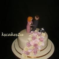 Daughter Of Bride Wanted A Cake For Her Mothers Wedding Single Tier With Dancing Couple Where Man Stands On Her Foot With Their Dog Eve daughter of bride wanted a cake for her mothers wedding single tier with dancing couple where man stands on her foot with their dog :)...