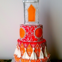 Indian Light Cake Fuschia and Orange, silver painted sugar work. My first attempt at sugar glass, worked perfectly!