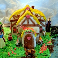 Snow White Cottage Cake Disney figurines,everything else edible made for my grand daughter's 4rth birthday tomorrow. Hope she likes it. tfl!