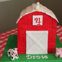 Barn Cake Barn cake created for my son's 4th birthday, First time making fondant animals or carving a cake.