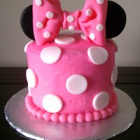 Minnie Mouse 1St Birthday Smash Cake Buttercream (not very smooth) with fondant accents. Second bow ever! I was very proud of it.