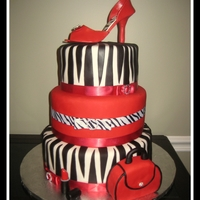 Zebra Cake With Heel And Purse Many firsts on this cake. My first 3 tier cake as well as my first gumpaste shoe and purse. First time using RKT which I used to create the...