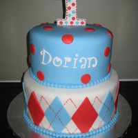"Argyle 1St Birthday Cake This cake was inspired by my son's first birthday invitation, although I altered the colors a bit. The top tier is 8"" and..."