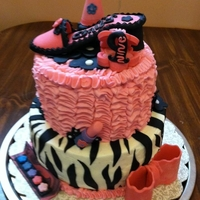Emilys Ninth Girly Girl Birthday A two tier birthday cake for my great-niece Emily. Top Tier is zebra striped inside and bottom is french vanilla, both covered in...