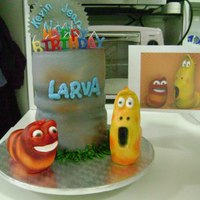 Larva Birthday Cake This is a popular Korean cartoon named Larva. These 2 worm-like creatures live in the sewer. They are so stupid, but they are so funny....