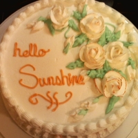 Hello Sunshine Cake Hello Sunshine, cake. first time doing bc roses!