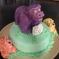 "Gorilla Cake My dad turned 50 this year! So I figured I'd make a cake inspired by him. ""Purple Gorilla"" is my dad. And my sister and I..."