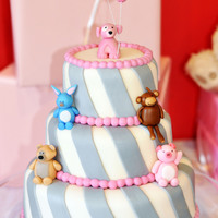 Pink Amp Grey 3 Tiered Cake With Fondant Animals Pink & Grey 3 Tiered Cake with Fondant Animals