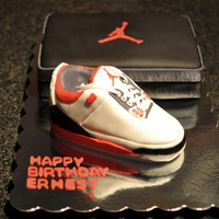Made This For My Husbands Birthday Air Jordan Iii Retro Shoe Was Made Out Of Rice Krispie Treats And The Shoebox Was Cake   Made this for my husband's birthday :) Air Jordan III Retro Shoe was made out of rice krispie treats and the shoebox was cake.