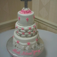 First Holy Communion Sweet little cake with pink and silver accents. Peerfect for this little girls special day. Bottom tier was her favorite, Funfetti with an...