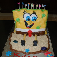 Spongebob Cake 8 layer chocolate cake with alternate fillings: Ferrero Roacher & Peanut Butter covered in fondant and with edible sand