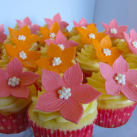 Tropical Flower Cupcakes These cupcakes were for a bridal shower. The wedding will be a destination wedding, so I tried to go for a tropical type fantasy flower in...