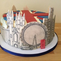 London Cake  London themed cake for friends moving there. Various London landmarks surround the cake in modelling chocolate with buttercream backfill (...