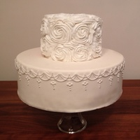 White On White Rosette And Piping