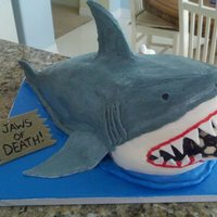 Shark Birthday Cake The head was a topsy turvey top and the body was an oval that I carved down to resemble a shark body. I used fondant and gumpaste to create...