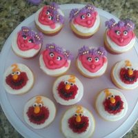Elmo And Abby Cupcakes Fun cupcakes for my friend's daughter who I also made the girly Elmo cake for later....