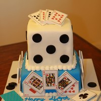 "Poker Cake Poker Cake 40th BirthdayCakes are 8"" and 6"" square covered in MM fondant (recipe on CC) the playing cards are Gumpaste with Lucks..."