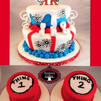 Drseuss Thing 1And Thing 2 Cake And Smash Cakes For Twins First Birthday Dr.Seuss Thing 1and Thing 2 cake and smash cakes for twins first birthday!!!!