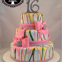Sweet 16 Splatter Cake With Bling Sweet 16 splatter cake with bling