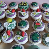 Wimledon Finals Day Strawberry and vanilla cupcakes, with hand made decorations