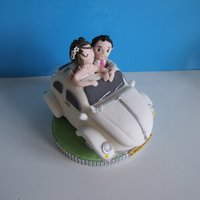 Vw Wedding Cake Topper VW Beettle made from RKT and covered in fondant and hand made figures