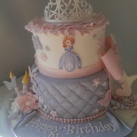 Sofia The First Cake Chocolate Chip Cookie Cake With Cookie Dough Filling Iced In Swiss Meringue Buttercream Fondant Covered With Gumpaste... Sofia the First Cake. Chocolate chip cookie cake with cookie dough filling iced in swiss meringue buttercream. Fondant covered with...