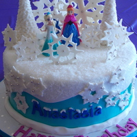 Disney Frozen Cake Anna And Elsa Dolls Provided By Client French Vanilla Cake With Vanilla Cream Filling Iced In Swiss Meringue Buttercre Disney Frozen Cake. Anna and Elsa dolls provided by client. French Vanilla Cake with Vanilla Cream Filling iced in Swiss Meringue...