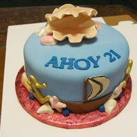 Ahoy 21 Open clam shell on this cake served as a gift box for a watch.