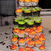 Alcohol Halloween Cupcakes these cupcakes were made for an adults party. the green ones are lemon vodka cupcakes with green vodka lemon curd filling, vokda lemon...