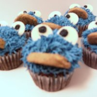 Cookie Monster Cupcakes   Sorry about the fuzzy photos! I could not get a decent picture of these. Vanilla cake with vanilla buttercream.