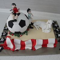 Birthday Cake For My Nephews Who Love Soccer Amp Horse Riding Birthday cake for my nephews who love soccer & horse riding