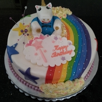 Unicorns And Rainbows Birthday Cake for my Sister of unicorns and rainbows, the unicorn is a rugby supporter too :)