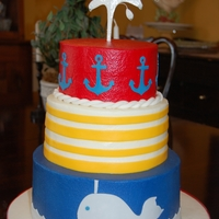 Nautical Birthday Cake This cake was designed by the 16 year old birthday girl! The top and bottom tiers are white cake filled with buttercream. The middle tier...