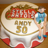 Stella Artois Bottle Top Cake a bottle top cake for a guy that drinks stella.i got the bottle top shape by crumb coating the cake then chilling it.i then piped butter...