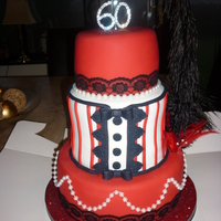 Moulin Rouge Cake 60th birthday cake, vanilla sponge covered in fondant
