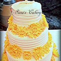 Yellow Daisy Buttercream Wedding Cake With Fondant Monogram Topper *Yellow Daisy Buttercream Wedding cake with Fondant Monogram topper